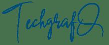 Podpis z nazwą firmy TechgrafQ czcionką odręczną w kolorze granatowym