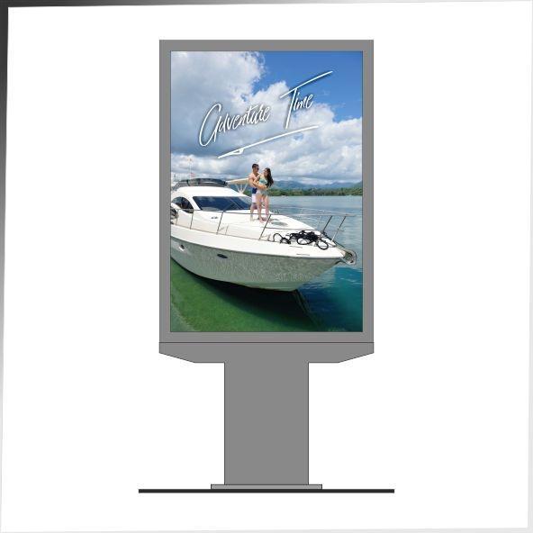 Nowoczesne nośniki urządzenia reklamowe to m.in. przedstawiony na zdjęciu rollposter - model TAMIZA, z dwustronną ekspozycją oraz możliwością korzystania z siedmiu plakatów. Rollposter na grubej podstawie.