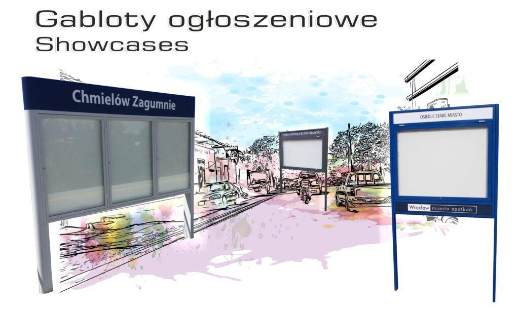 Grafika w pastelowych kolorach przedstawiająca ulicę z samochodami w tle. Na pierwszym planie znajdują się zdjęcia gablot ogłoszeniowych.